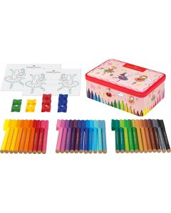Faber-Castell 33 Felt Tip Pen Ballerina Tin with Connector Clips