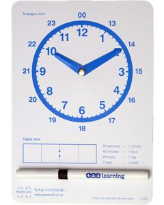A5 Analogue Dry Wipe Clock Face and Pen