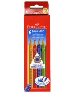 Faber-Castell Jumbo Grip Colour Pencils (Box of 6 Colours)