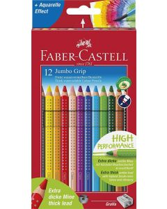 Faber-Castell Jumbo Grip Colour Grip Pencils + Sharpener (Box of 12)
