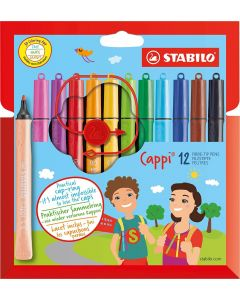 STABILO Cappi Felt-Tip Pen - Wallet of 12 Assorted Colours