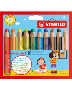 Stabilo Woody 3 in 1 Coloured Pencils - Pack 10